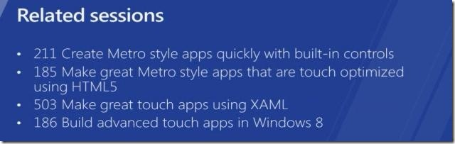 Windows 8 Designing touch optimized - Related sessions - Metro style apps