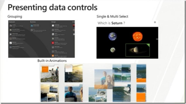 Windows 8 In-box Controls - Presenting data - the built-in richness coming with 3 primary controls