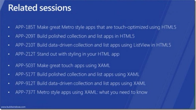 Windows 8 In-box Controls - Related sessions - for Metro style apps