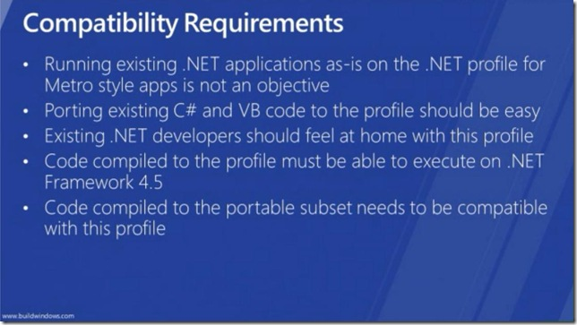 Windows 8 .NET dev view - Metro profile compatibility requirements - of app dev