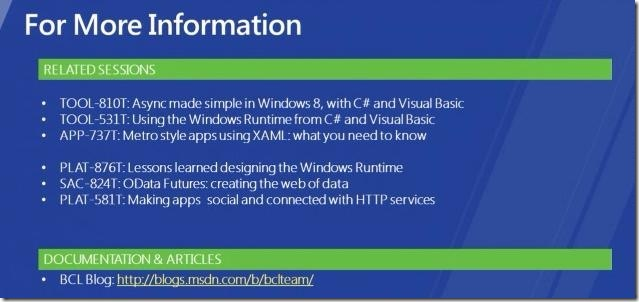 Windows 8 .NET dev view - more information - of app dev