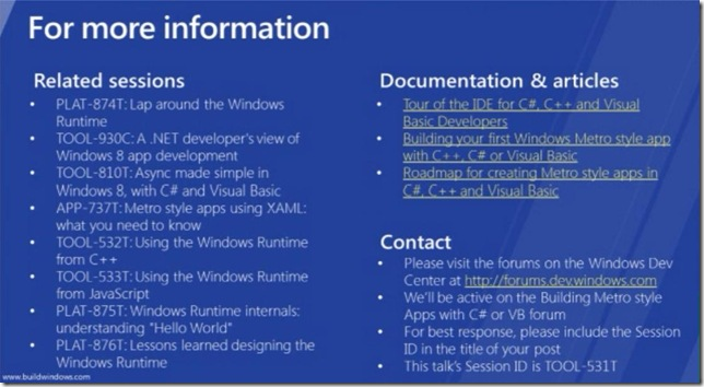 Windows 8 Using WinRT from C# and Visual Basic MORE INFORMATION